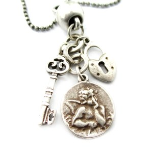 Skeleton Key Lock and Angel Engraved Coin Pendant Necklace in Silver