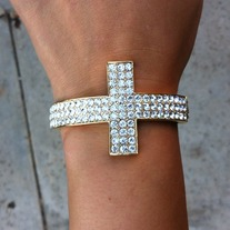Gold Cross Rhinestone Cuff