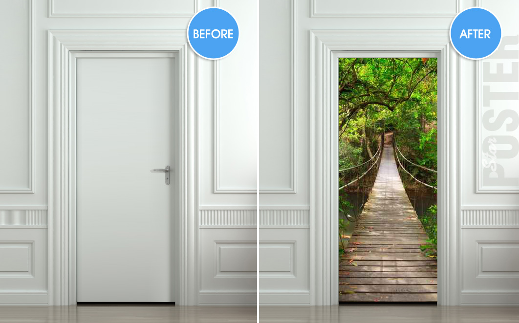 Giant door sticker rope bridge tropic forest decole film poster 30x7977x200cm