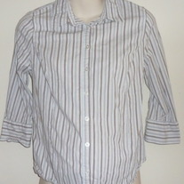 Brown/Light Blue Striped Shirt-Liz Lange Maternity Size Medium