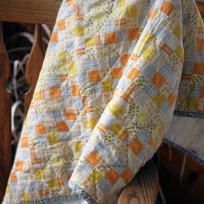 Heather ross wholecloth baby quilt