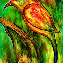 Bird on a branch - digital art