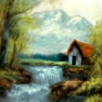 Cabin by the river - digital art