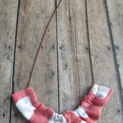 Coral floral fabric ruffle necklace