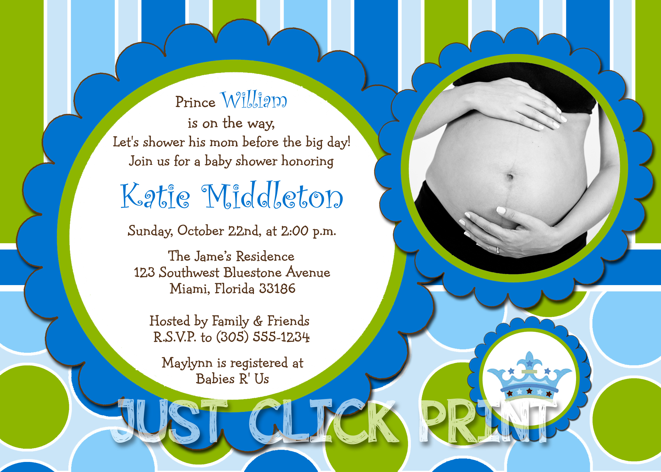Little Prince Baby Boy Shower Invitation Printable Blue Green · Just ...