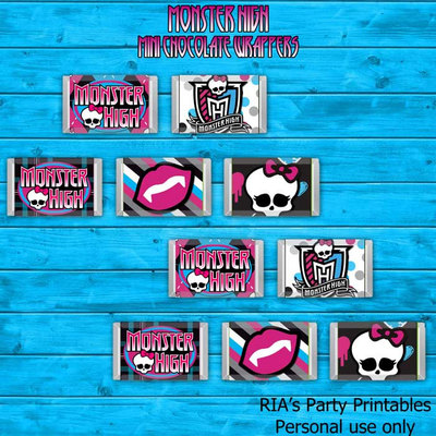 Monster High Mini Hershey's Candy Bar Wrappers · RIA's Party ...
