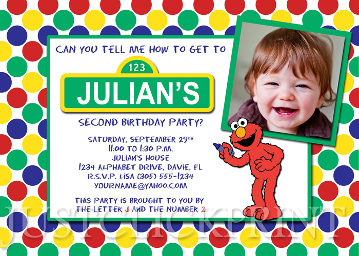 Sesame Street Inspired Birthday Photo Invitation Printable Just