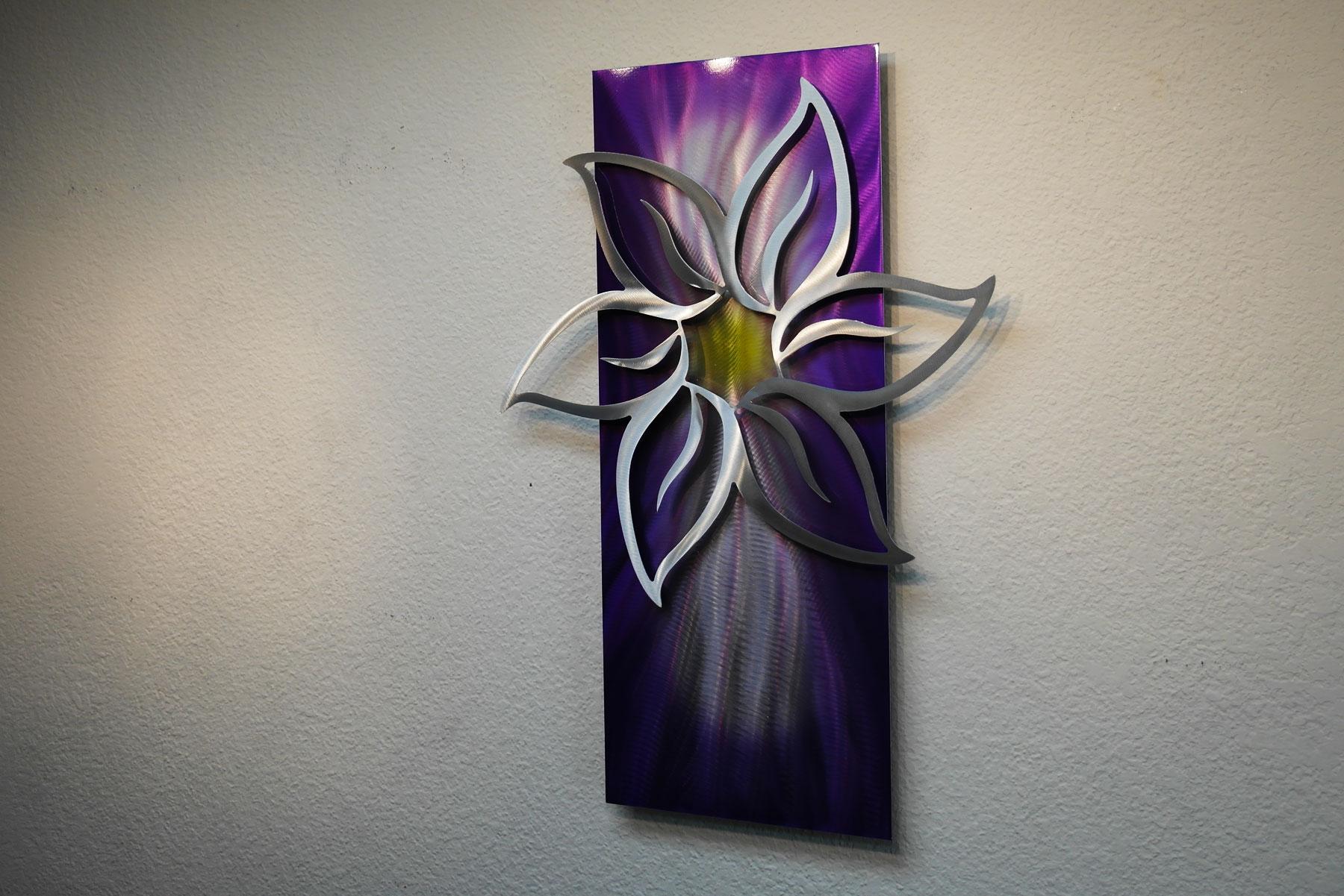 Purple Lotus Metal Wall Art Abstract Contemporary Modern