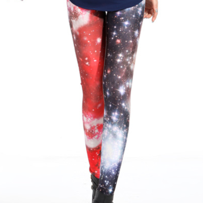 Red starry cosmic tights