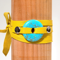 yellow Tie-on turquoise necklace