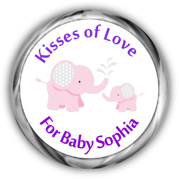 Pink Elephant Baby Shower Hershey Kisses Stickers Baby Shower Kiss