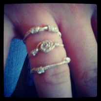 Set of 3 sterling silver stacking rope rings