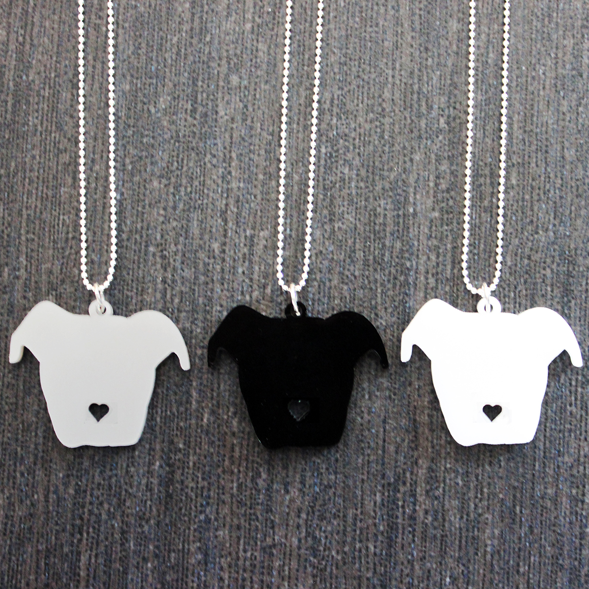 Pit bull floppy ear head silhouette w heart nose necklace larry pit bull floppy ear head silhouette w heart nose necklace thumbnail 1 aloadofball Choice Image