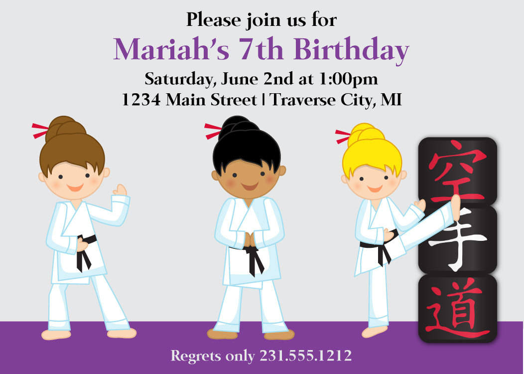 Girls Karate Invitation - Kids Birthday Invitation - Choose Hair and ...