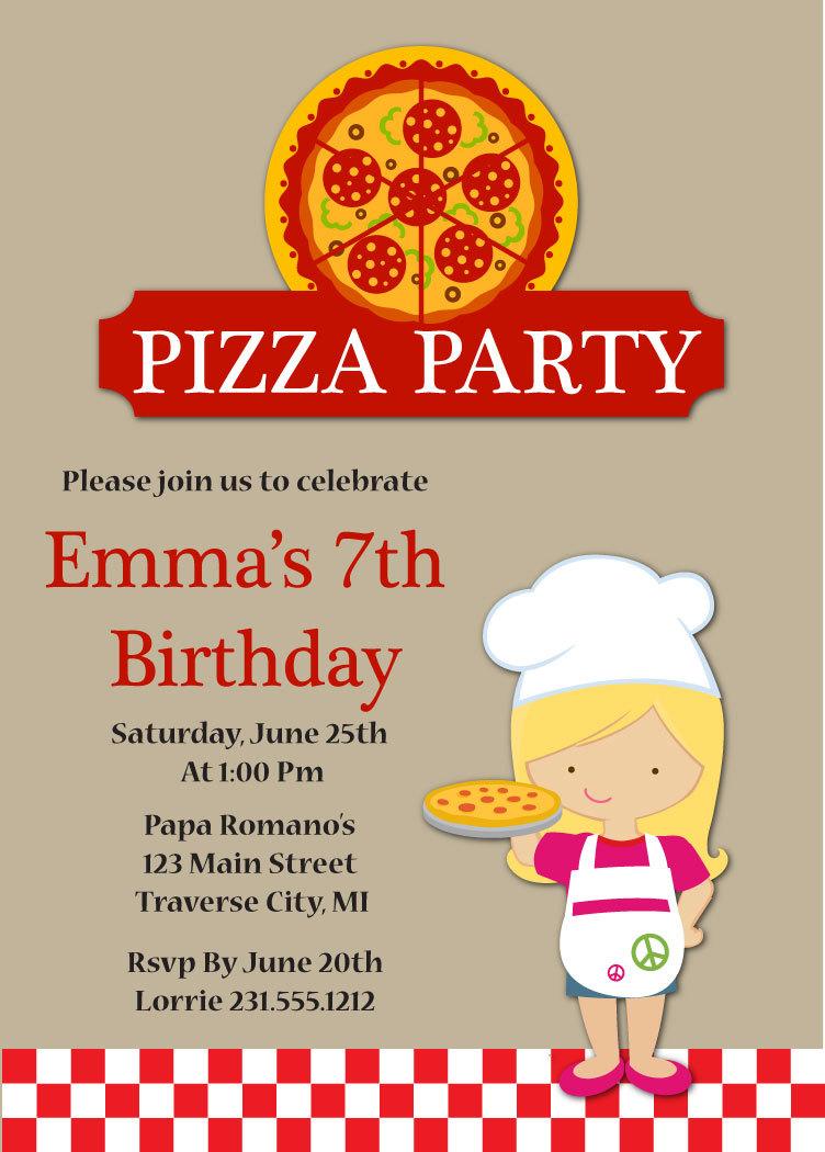 Pizza Party Birthday Invitation - Kids Pizza Party Invitation ...
