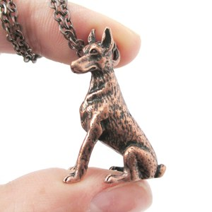 3D Realistic Doberman Pinscher Dog Breed Animal Charm Necklace in Copper