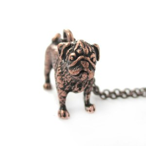 3D Realistic Pug Animal Shaped Dog Breed Life Like Charm Necklace in Copper