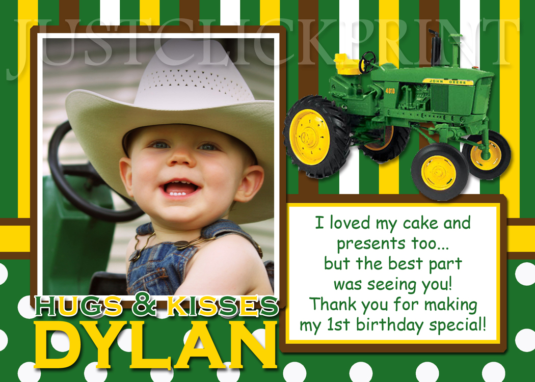 John Deere Inspired Birthday Photo Thank You Card