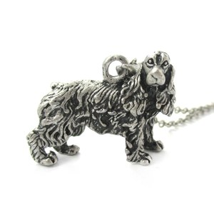 3D Realistic English Cocker Spaniel Animal Dog Breed Charm Necklace in Silver
