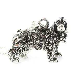 3D Realistic English Cocker Spaniel Animal Dog Breed Charm Necklace in Shiny Silver