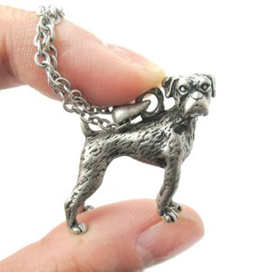 3D Realistic Boxer Dog Breed Animal Charm Necklace in Silver