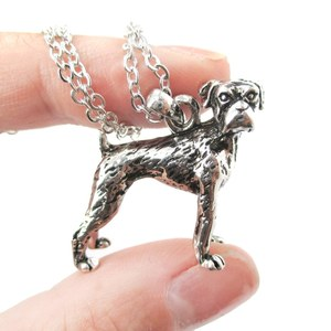 3D Realistic Boxer Dog Breed Animal Charm Necklace in Shiny Silver