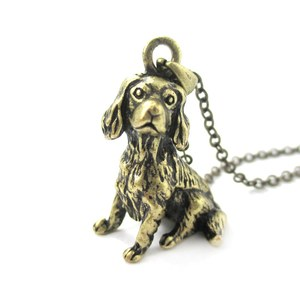 3D Realistic King Charles Spaniel Animal Dog Breed Charm Necklace in Brass