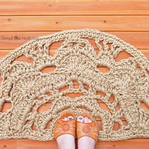 Half Moon Doormat - Natural Rope Mat - Semicircle Doormat - Natural Floor Decor