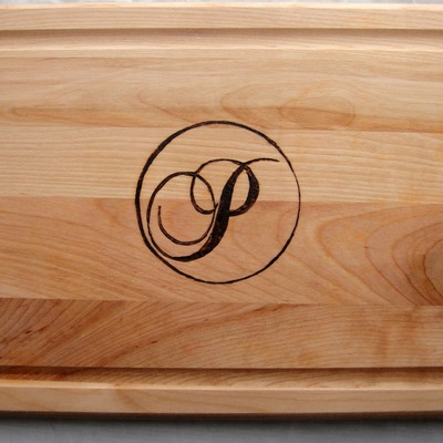 Wood burned monogrammed cutting board