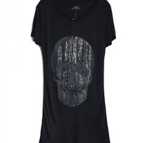Black Longline Skeleton T-Shirts