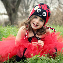 Girls Lady Bug Love Bug Handmade Crochet Hat with Earflaps