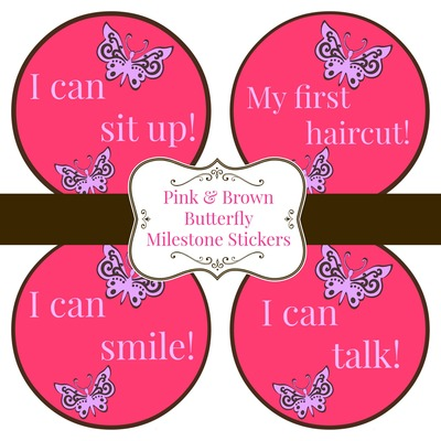 Pink & Brown Butterfly Milestone Stickers, Bodysuit Baby Stickers FREE SHIPPING