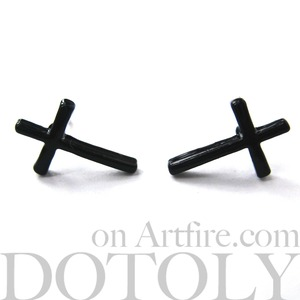 Small Simple Cross Shaped Stud Earrings in Black