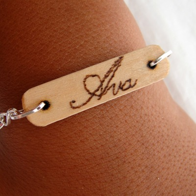Personalized wood burned bracelet