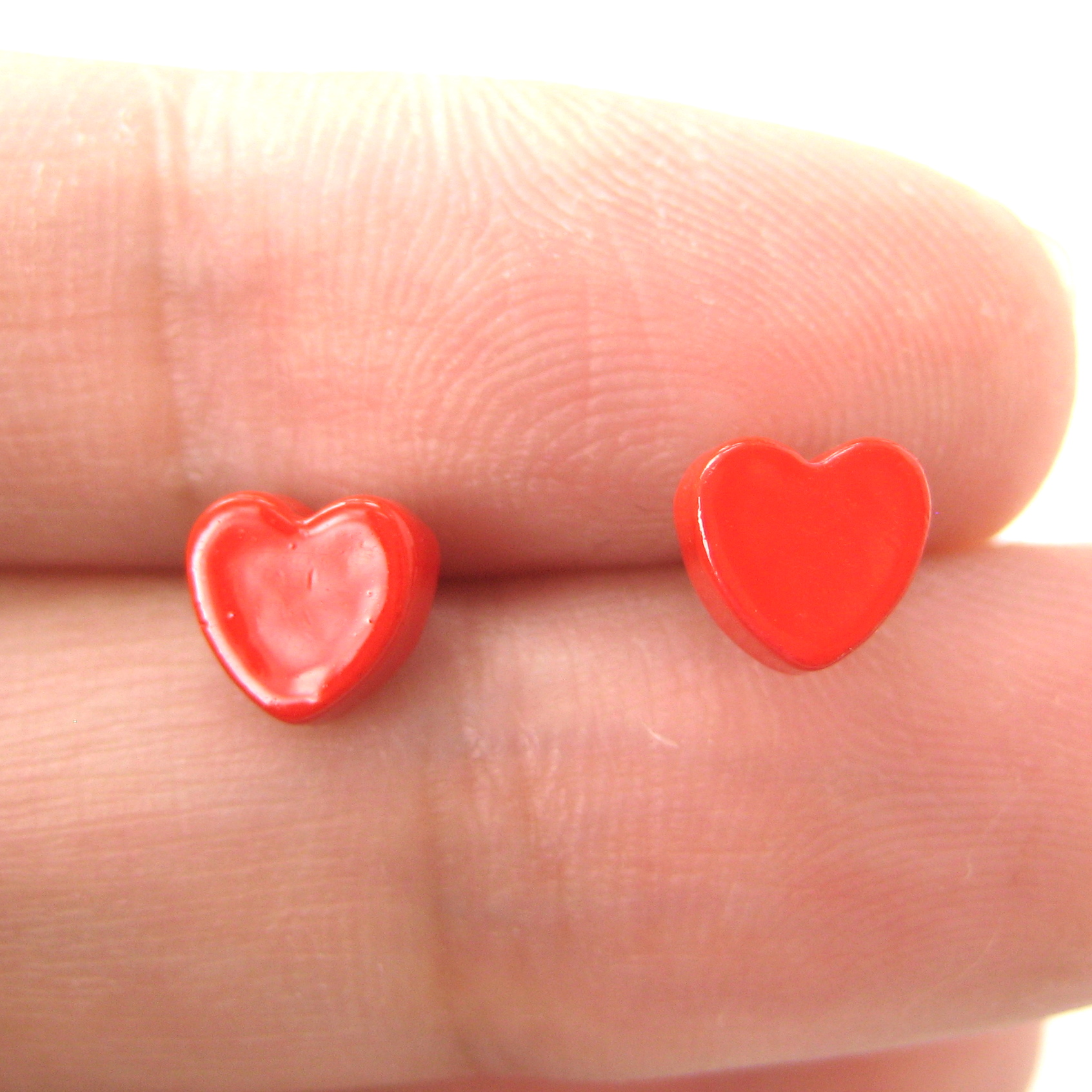 Small Simple Red Love Heart Shaped Stud Earrings  Thumbnail 3