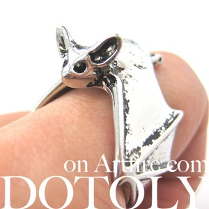 3D Bat Wings Wrap Around Animal Ring in SHINY silver - Sizes 5 to 9 Available
