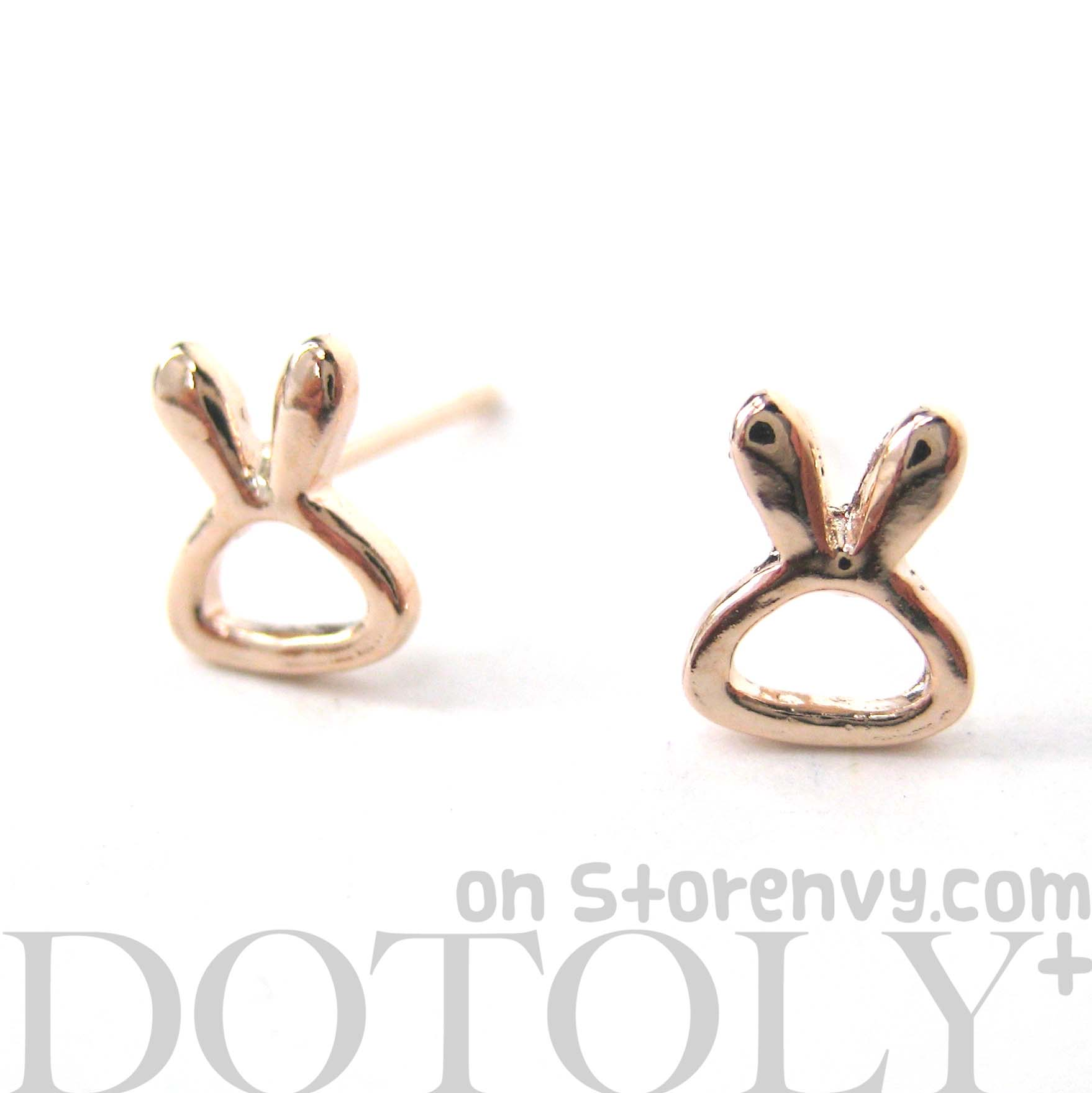 dotoly plus small rabbit bunny outline animal stud earrings in