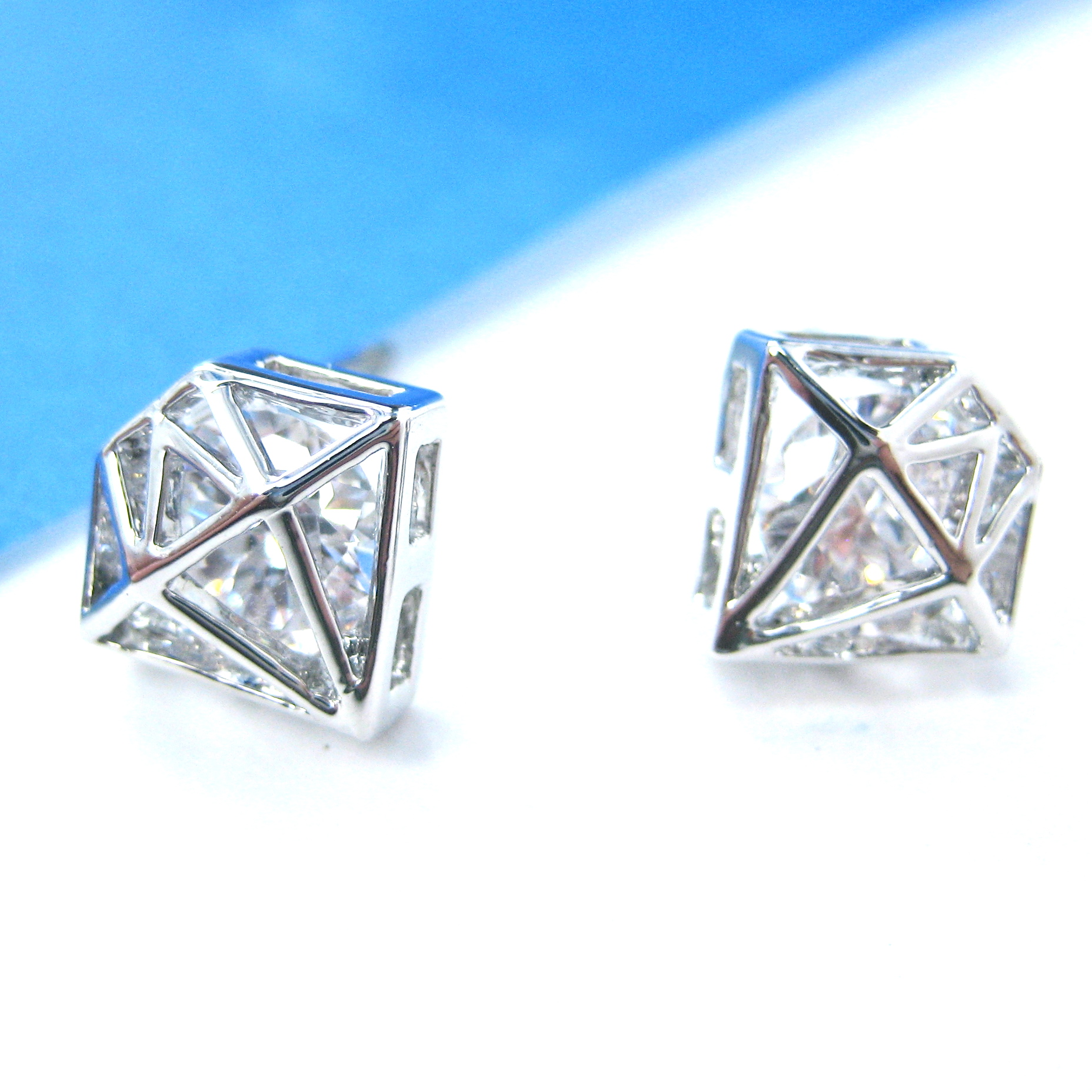 geometric silver in pin stud burnished shaped diamond miglio plating petite earrings