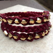 Wine Multi Facet Wrap Bracelet