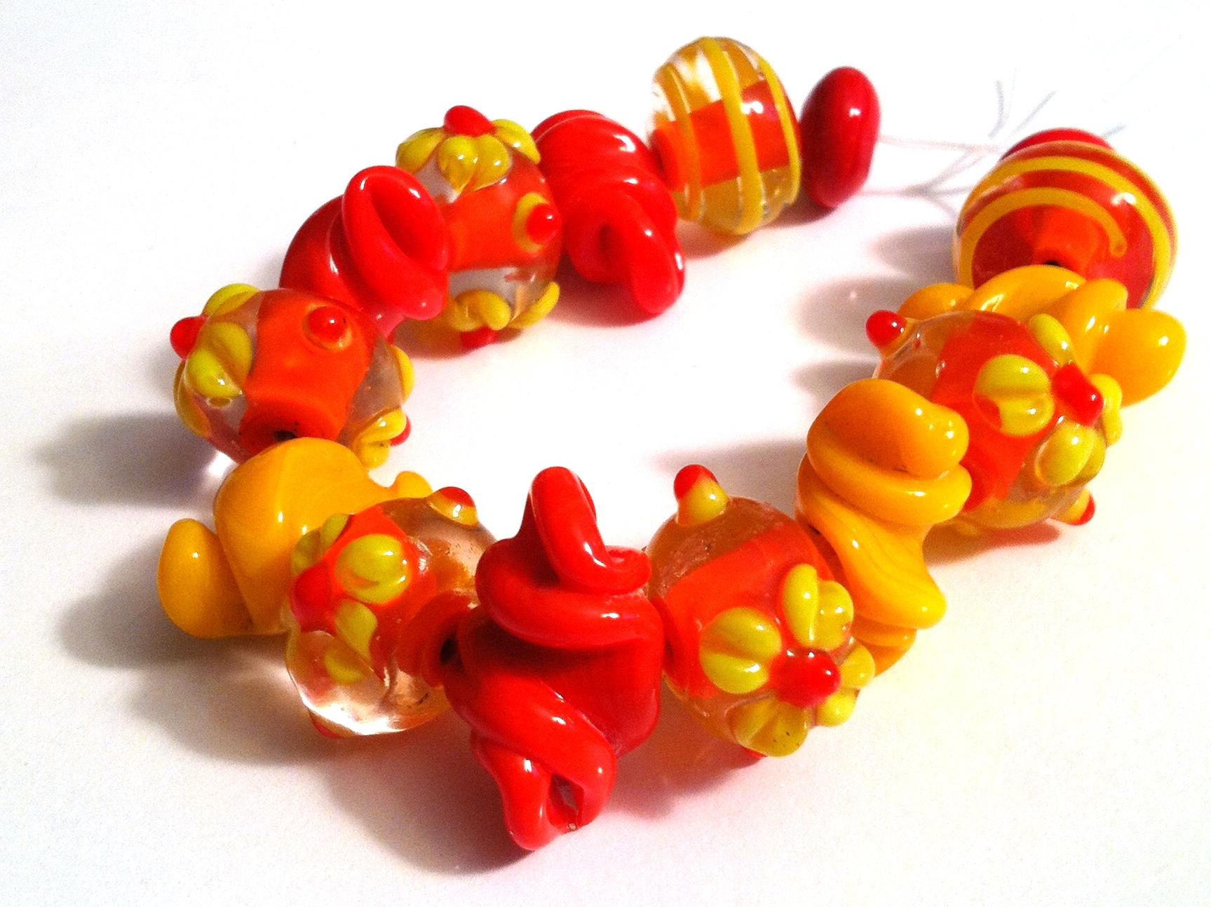 Fiery Bright Handmade Lampwork 15 piece Bead Set ...