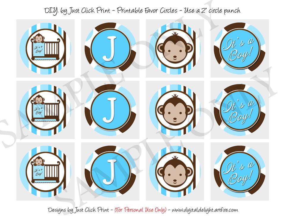 Mod Monkey Blue Brown Baby Shower Photo Invitation Printable · Just ...