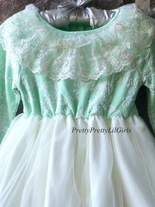 Baby Girl Dress, Baby Girl, Mint Dress, Girls Lace Dress, Flower ...