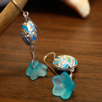 Light Blue Cloisonné Earrings