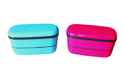 bento lunch box stacked made in japan blue pink japan bento supplies. Black Bedroom Furniture Sets. Home Design Ideas