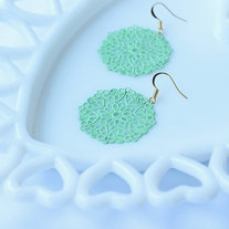 Mint Green Medallion Shaped Filigree Earrings