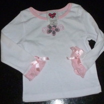 White Long Sleeve Shirt with Flower/Bows on Sleeves-Little Lass Size 2T