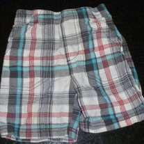 Gray/White/Red/Blue Plaid Shorts-Jumping Beans Size 2T