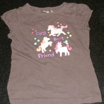 Brown Shirt With Horses says Girl's Best Friend-Jumping Beans Size 4T