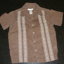 Brown Shirt with White Stitching/Buttons/Collar-Old Navy Size 3T