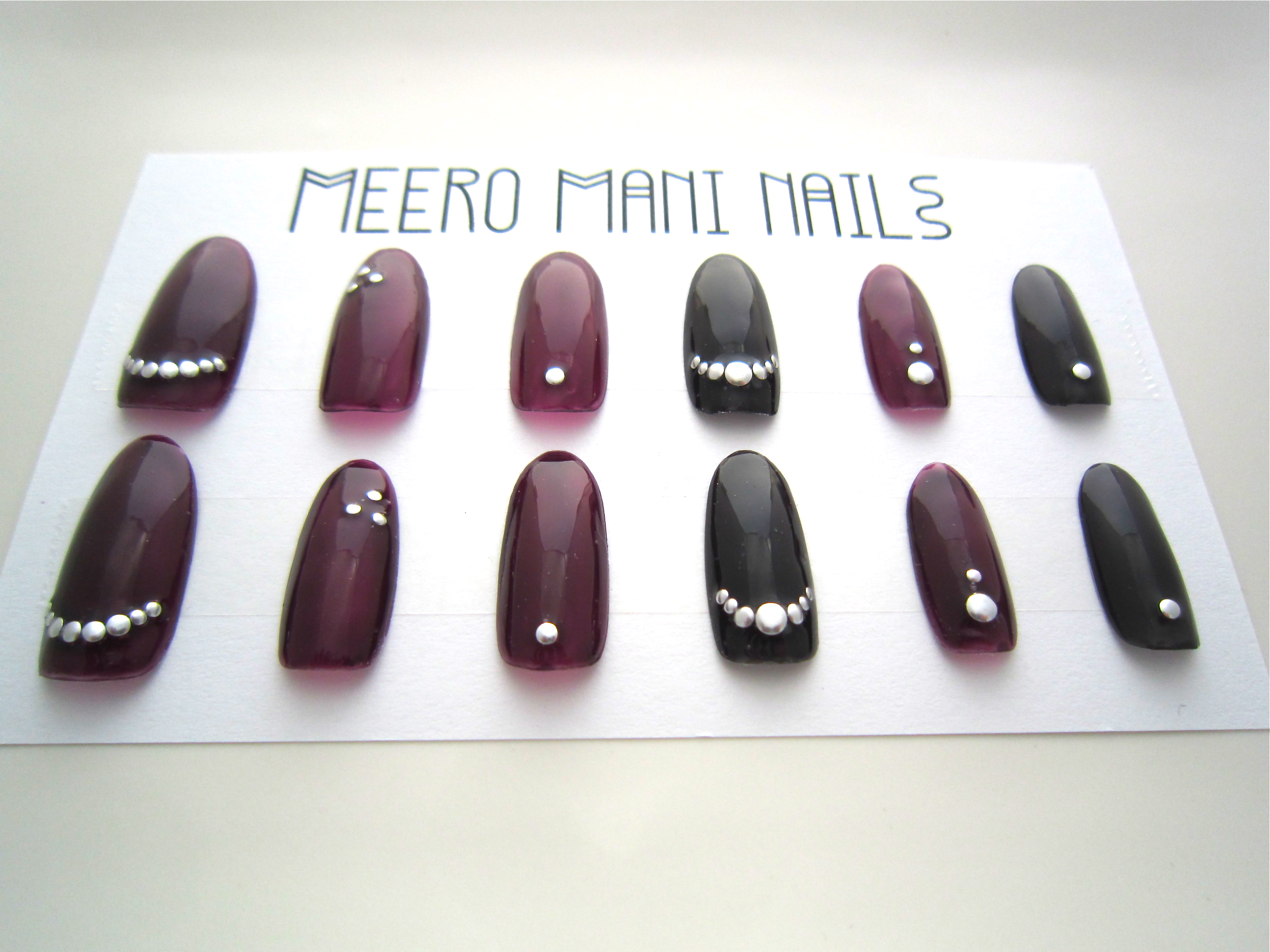Cheshire Bordeaux Wine And Black Studded Reusable Press On Nails